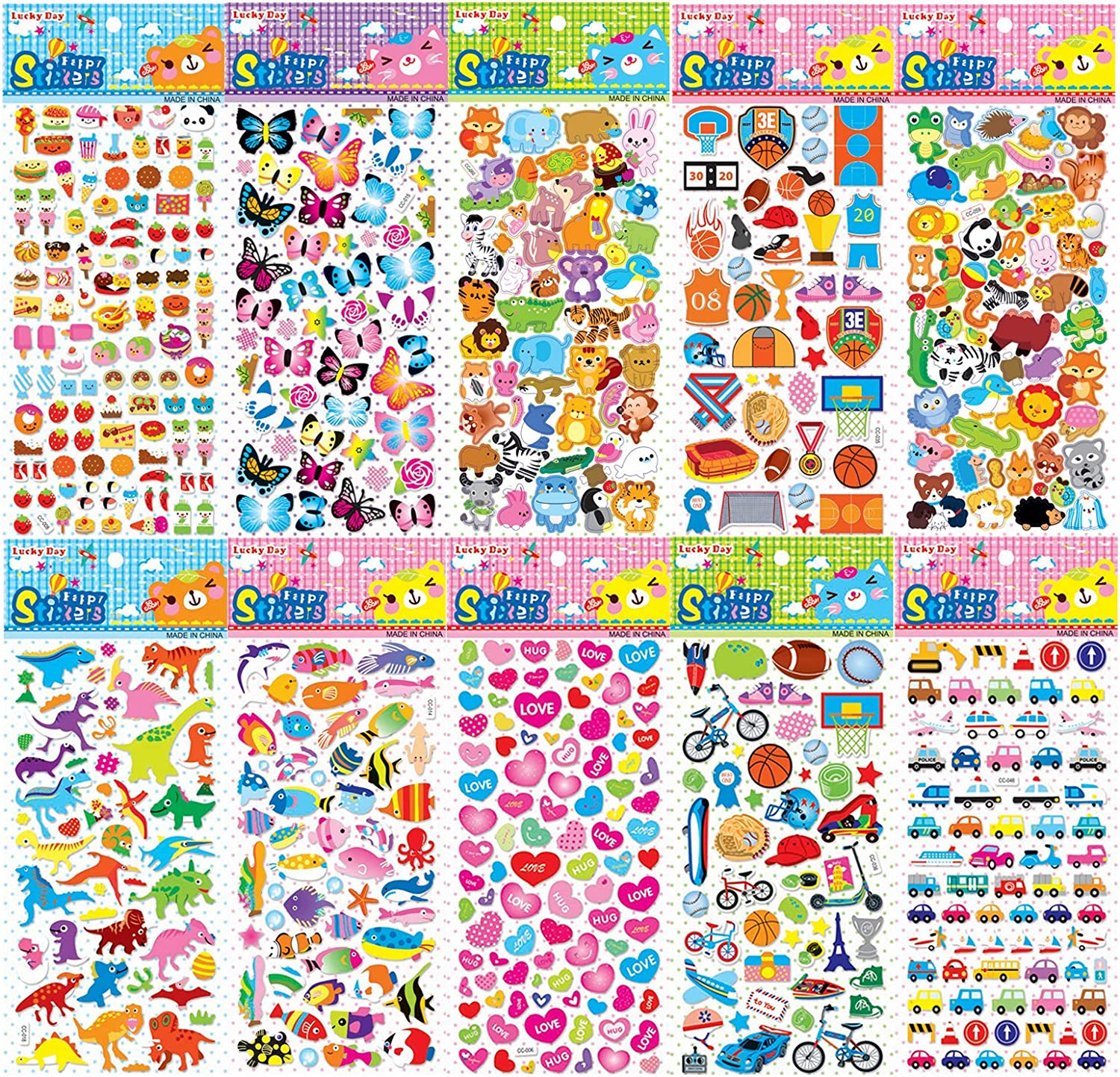 3D Puffy Stickers, Variety 10 Sheets Kids Bulk Stickers More Than 550 Patterns Reusable 3D Stickers for Kids Toddlers Including Dinosaurs, Cars, Trucks, Airplane, Food, Letters, Fruit, Hearts