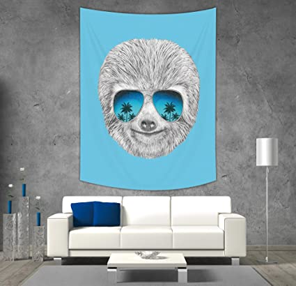 Peachy Amazon Com Iprint Polyester Tapestry Wall Hanging Sloth Evergreenethics Interior Chair Design Evergreenethicsorg