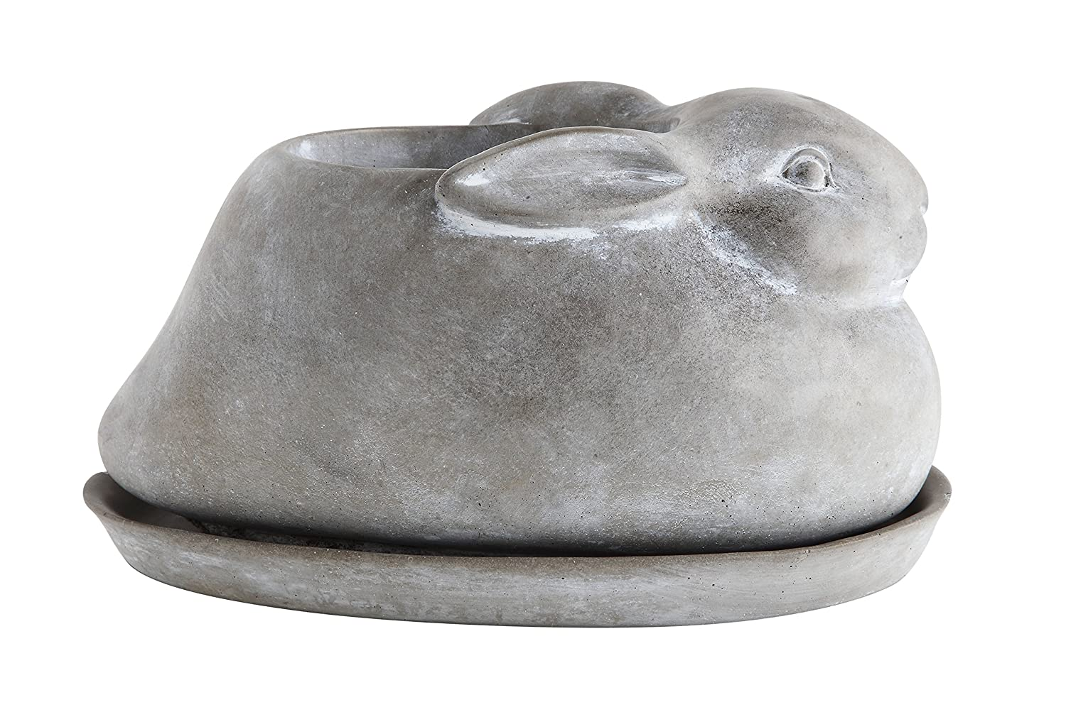 Creative Co-op Cement Rabbit Planter with Saucer Set of 2 Pieces