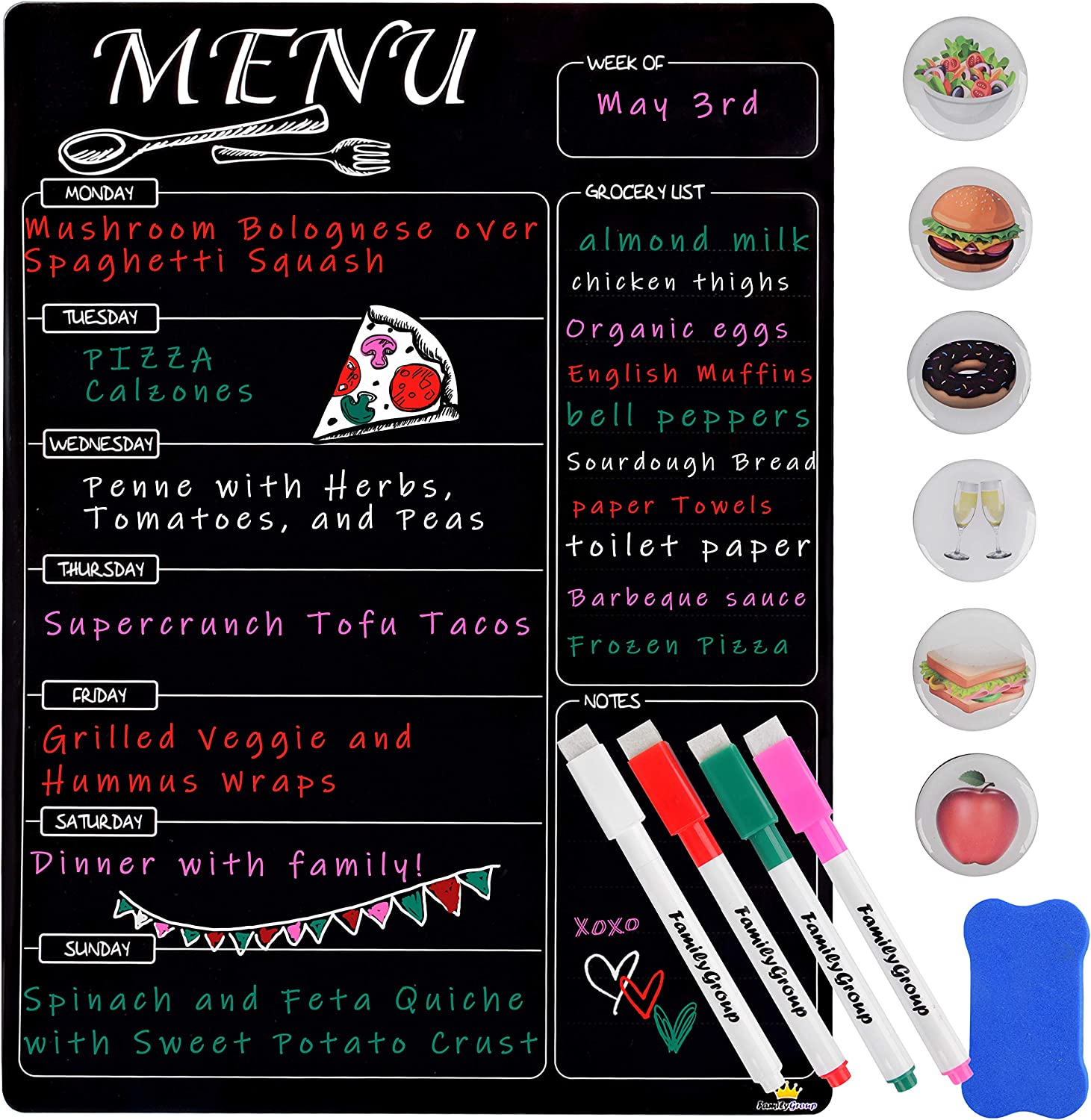 Magnetic Menu Board for Kitchen Refrigerator - Dry Erase Planner and Liquid Chalkboard - Schedule Dinner for The Family - Magnets and Eraser Included