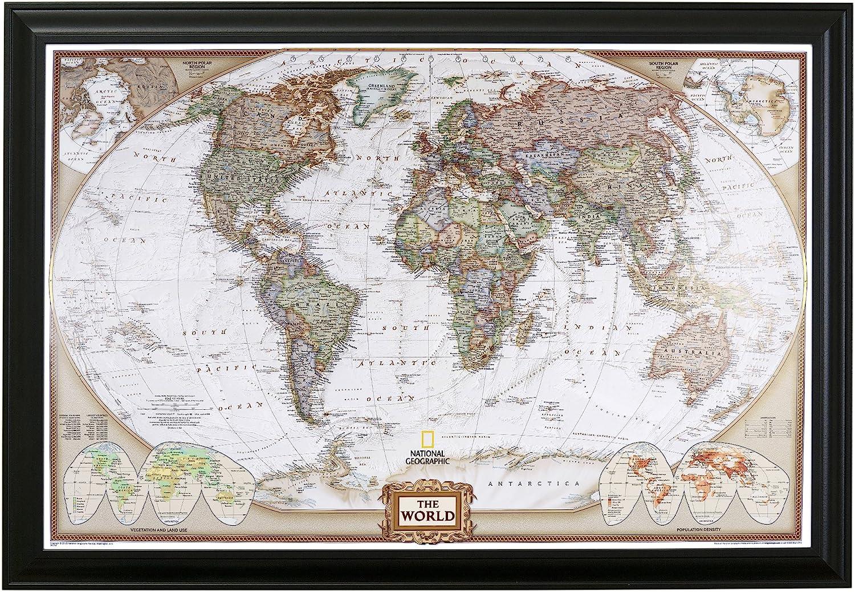 World Map Push Pin Amazon.com: Push Pin Travel Maps Executive World with Black Frame