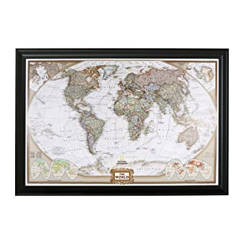 Amazon executive world push pin travel map with black frame executive world push pin travel map with black frame and pins 24 x 36 gumiabroncs Choice Image