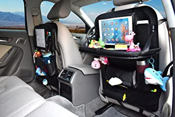 Car Back Seat Organizer With Tray Table AUKUN Backseat For Baby Kids Foldable