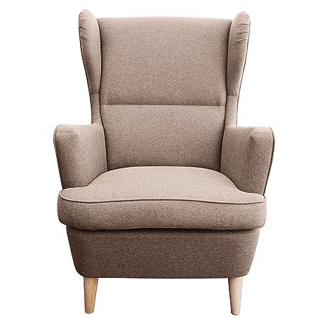 myHomery Sessel Lena Webstoff modern - Ohrensessel gepolstert –  Polsterstuhl für Esszimmer & Wohnzimmer - Lounge Sessel mit Armlehne - Braun