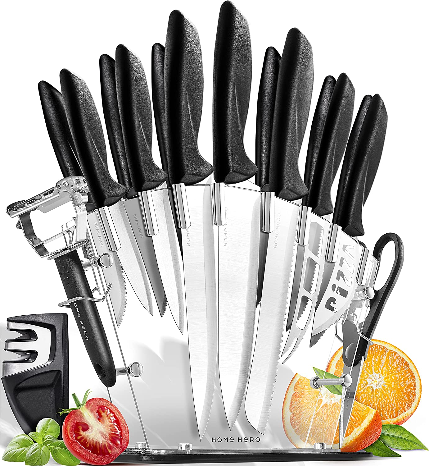 Home Hero 17 Pieces Kitchen Knives Set, 13 Knives with Stainless Steel Blade + Acrylic Stand, Scissors, Peeler and Knife Sharpener