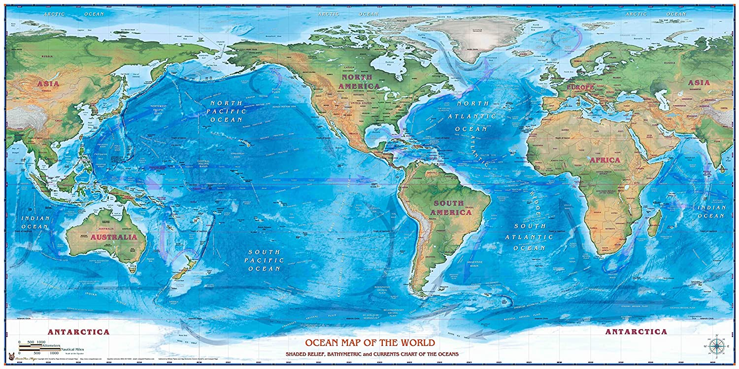 Amazon.com: Compart Maps - World Physical Wall Map - Ocean Map ...
