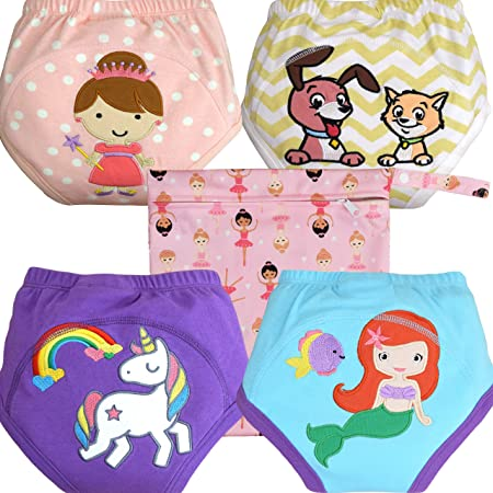 Lifetime Warranty Soft Cotton Train Faster Girls, Small Free Wet Bag Washable 3 X Absorbent MOM /& BAB Potty Training Pants for Toddlers
