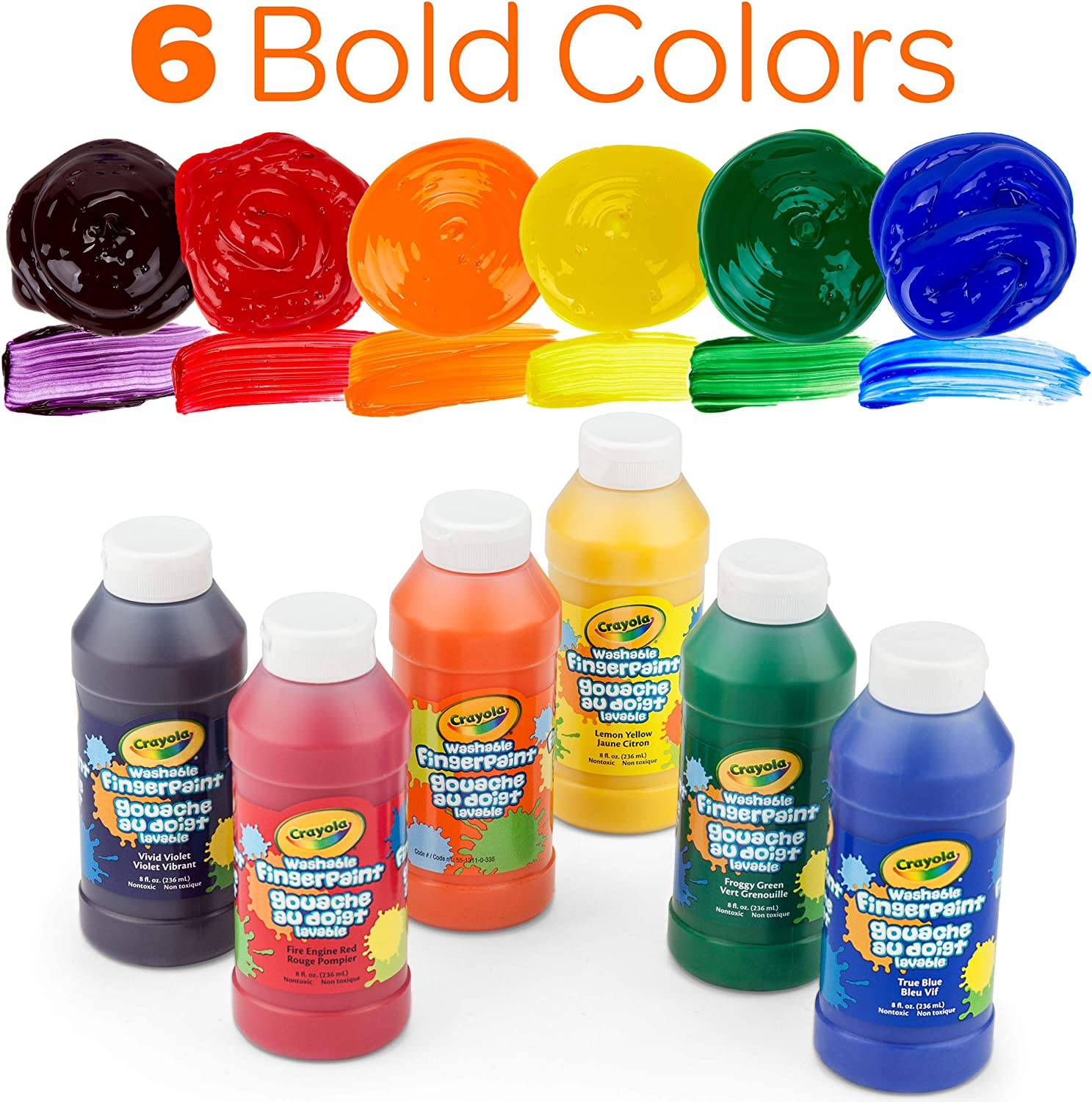 Crayola Washable Finger Paints, Stocking Stuffers for Toddlers & Kids, 6 Count: Toys & Games