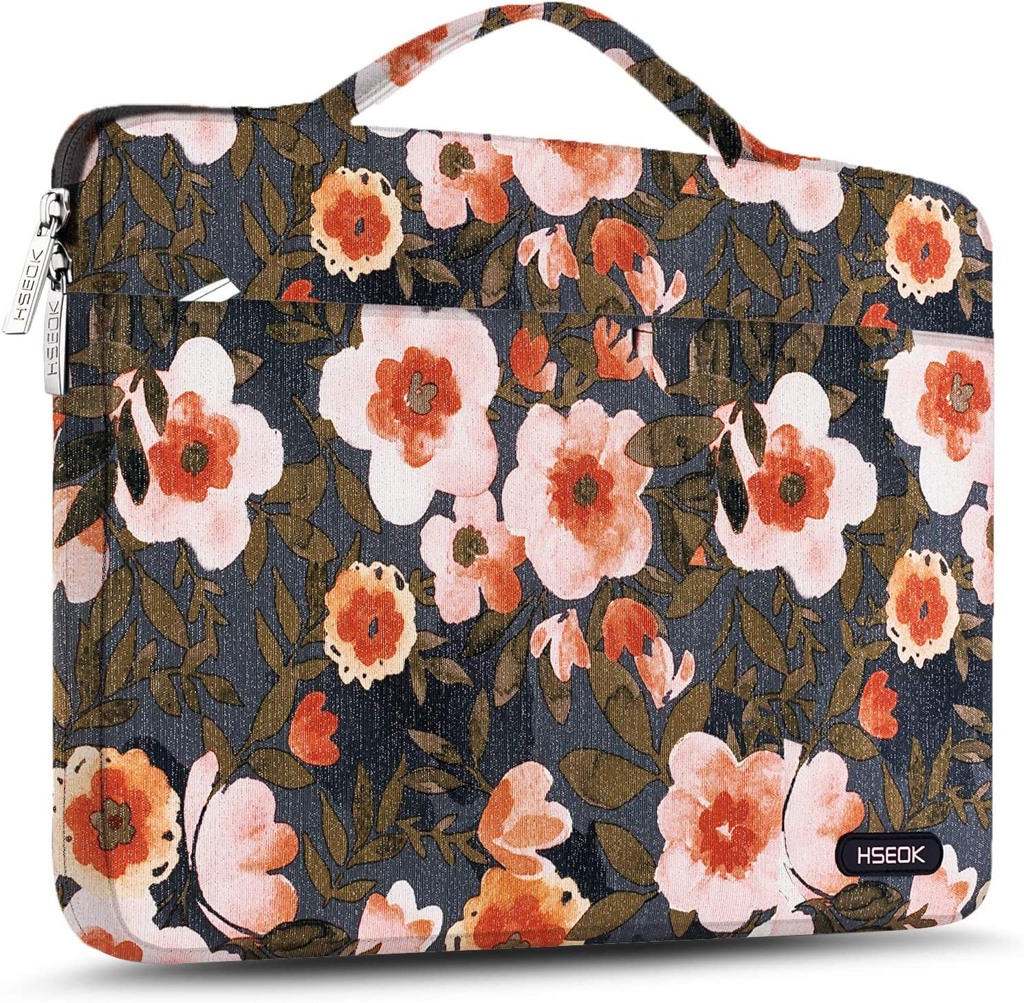 Hseok Laptop Sleeve 15 15.6 16 Inch Case Briefcase, Compatible MacBook Pro 16 15.4 inch, Surface Book 2/1 15 inch Spill-Resistant Handbag for Most Popular 15-16 inch Notebooks, Golden Flower
