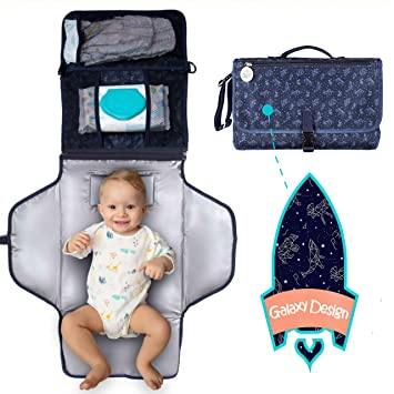 Portable Changing Pad Baby Diapering Travel Station w Wipes /& Diaper Pockets