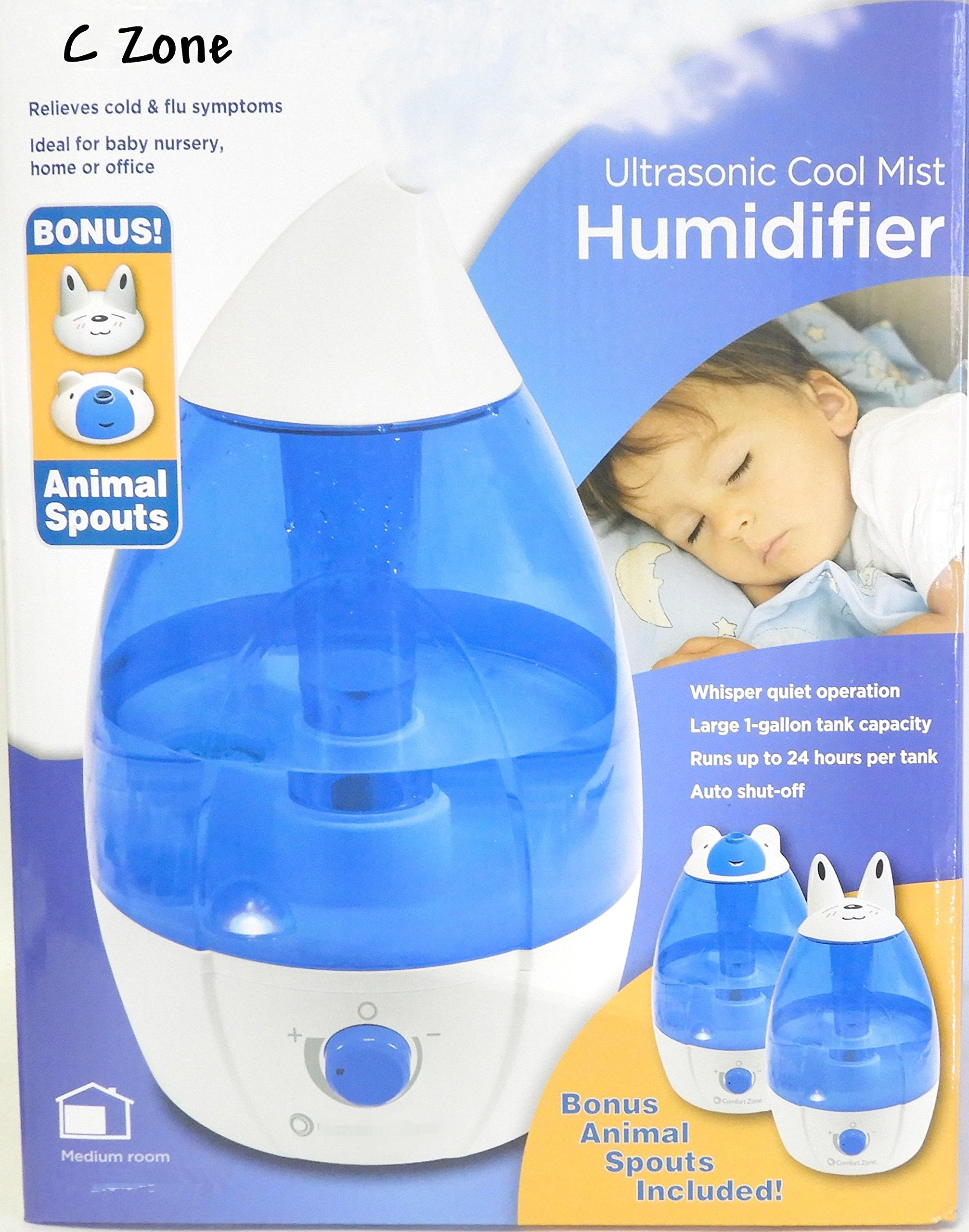 The C Zone Large 1 Gallon 24 Hour Ultrasonic Cool Mist Humidifier