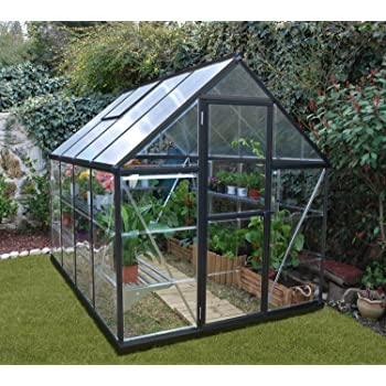 Palram Hybrid Greenhouse, 6' wide x 8' long, limited edition with dark grey frame
