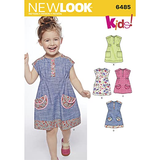 Amazon.com: New Look Pattern 6485 Toddlers Dress or Tunic with Fabric Variations: Arts, Crafts & Sewing