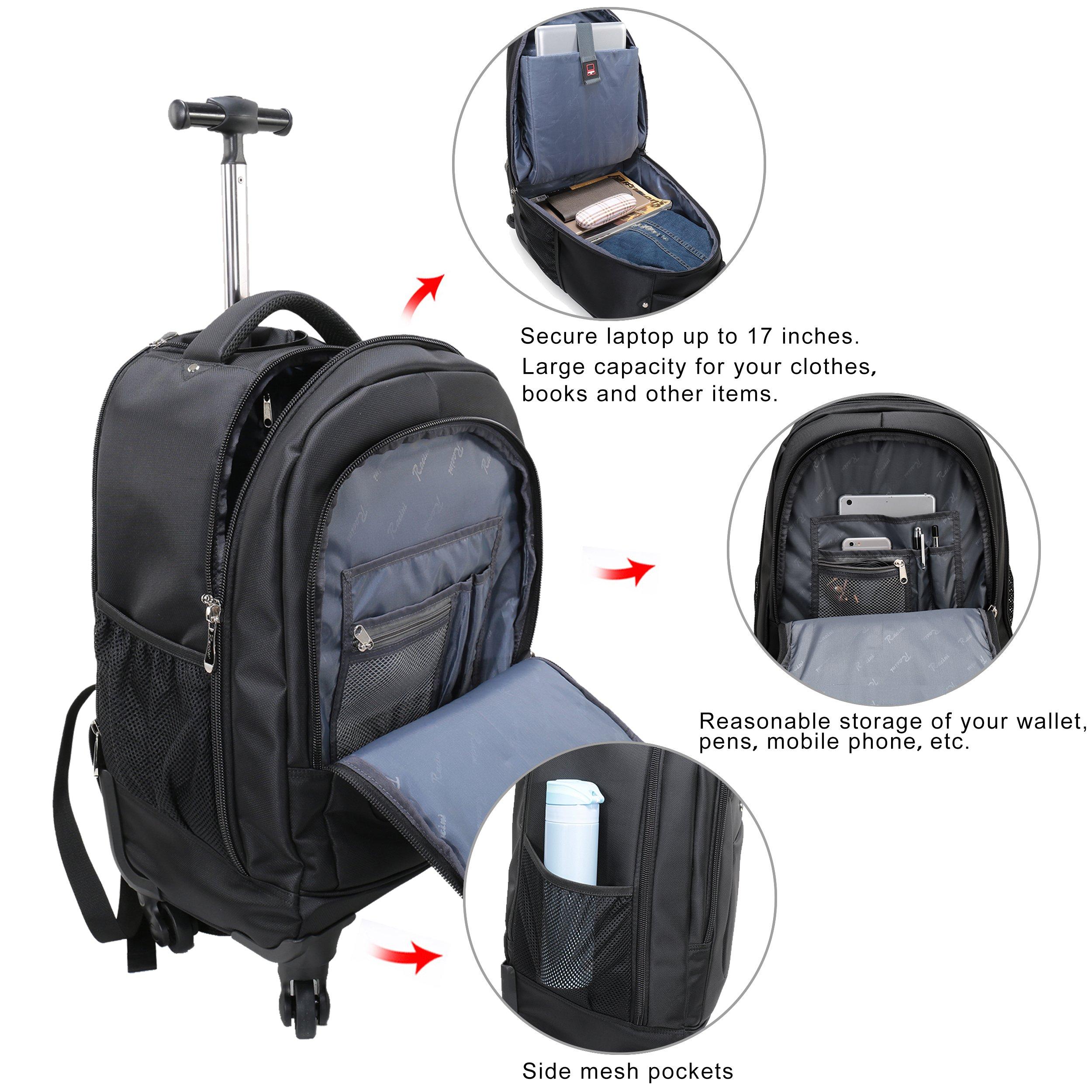63e4f0bbf Racini Nylon Waterproof Rolling Backpack, Freewheel Travel School Wheeled  Backpack, Carry-on Luggage with Anti-theft Zippers (Black)