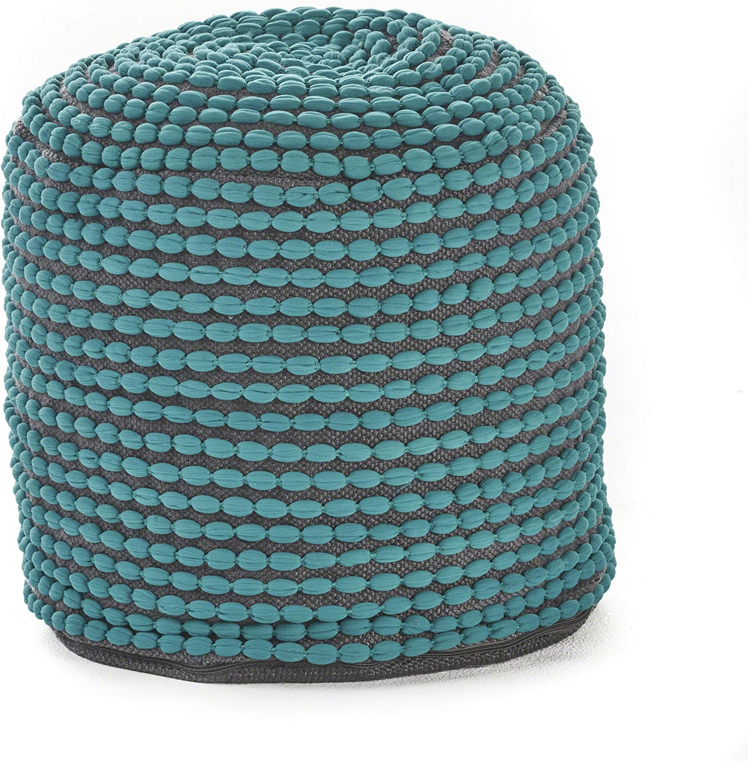 Christopher Knight Home Rococco Indoor Fabric Round Pouf Ottoman, Turquoise