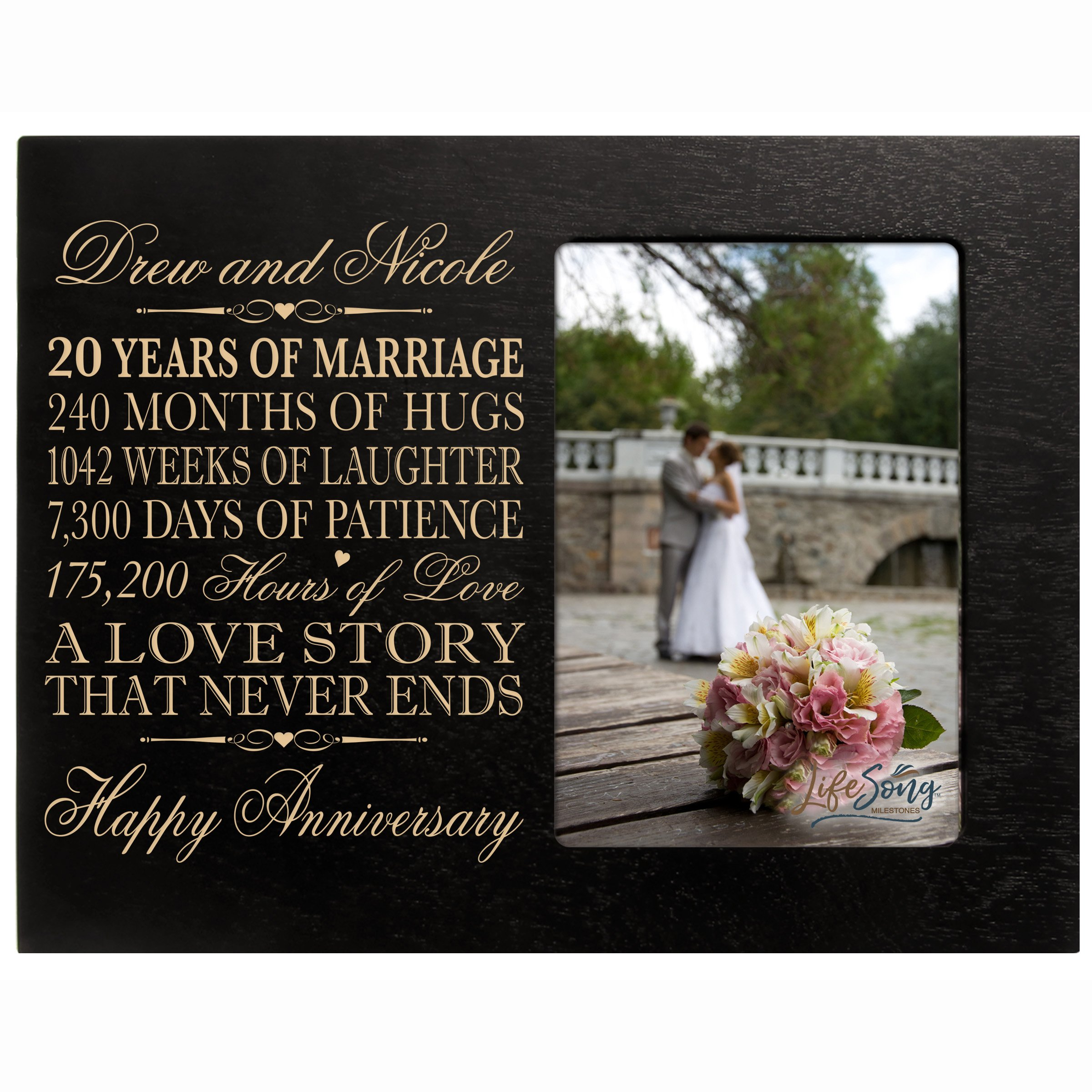 LifeSong Milestones Personalized 20 Year Wedding Frame Holds 4x6 Photo Frame Size 10'' w x 8'' h x 1/2''