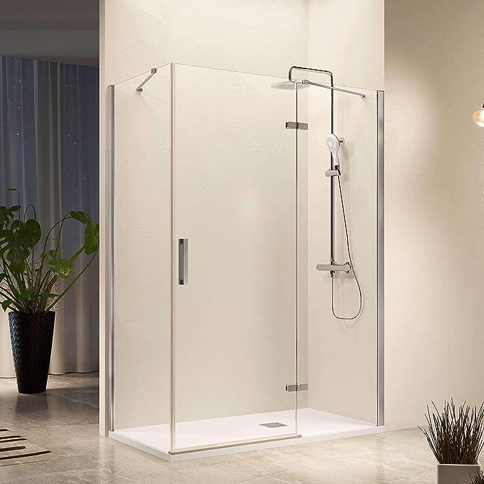 Frente de ducha NARDI, fijo + puerta abatible + perfil: Amazon.es ...