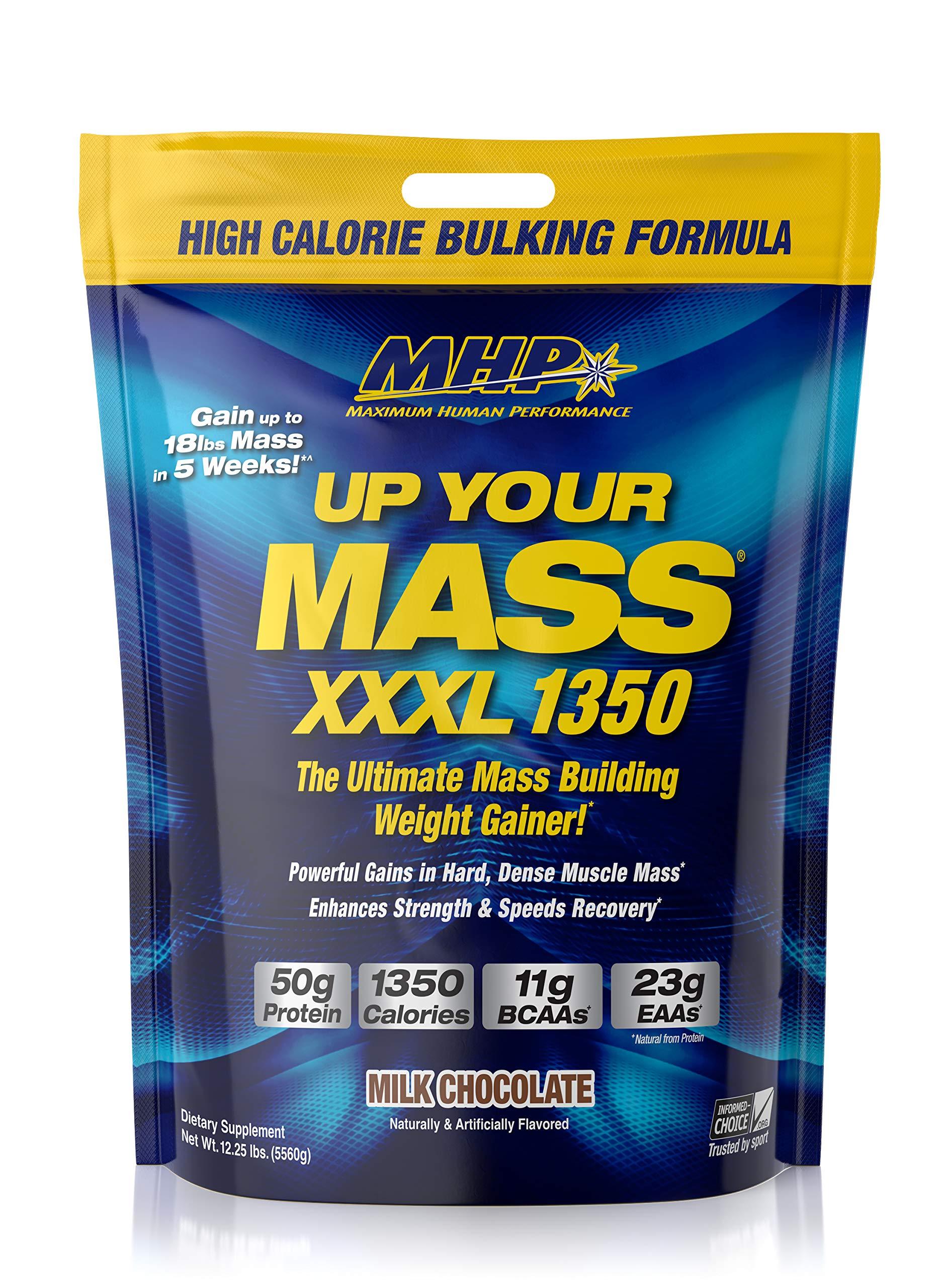 MHP UYM XXXL 1350 Mass Building Weight Gainer, Muscle Mass Gains, w/50g Protein, High Calories, 11g BCAAs, Leucine, Milk Chocolate, 16 Servings