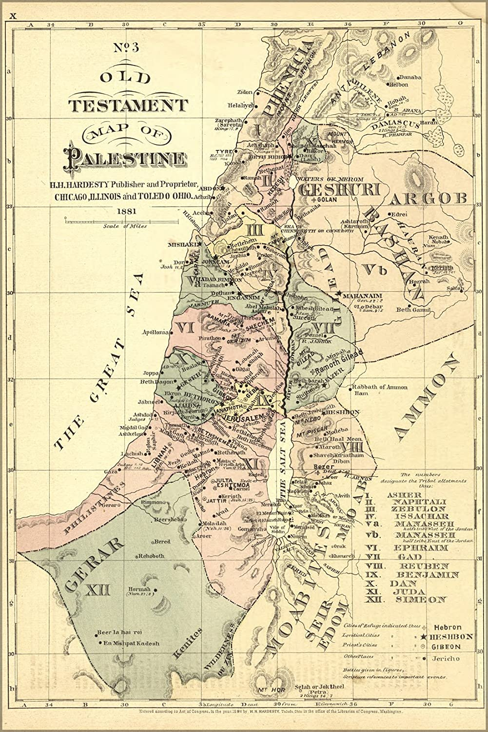 "History Galore 24""x36"" Gallery Poster, Old Testament map Palestine Israel holy Land 1881"