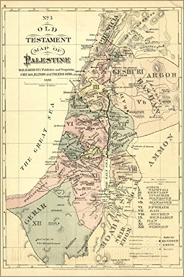 Amazoncom X Poster Old Testament Map Palestine Israel Holy - Map of israel