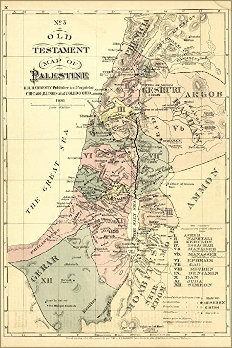 Amazoncom X Poster Old Testament Map Palestine Israel Holy - Map of old testament israel