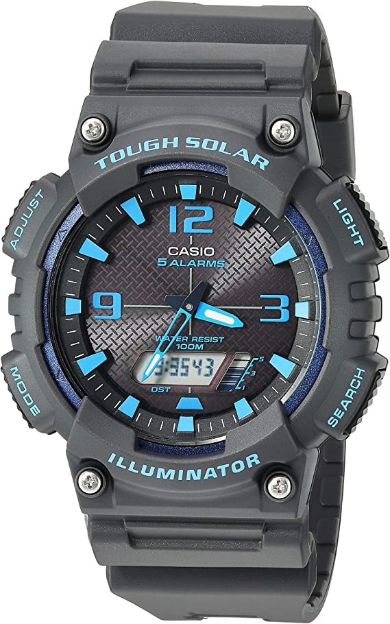 Casio Men's Tough Solar Stainless Steel Quartz Watch with Resin Strap