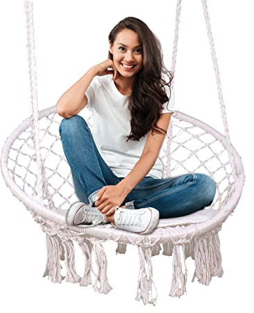 Feiren Outdoor hammock chair Indoor Livingroom hanging Macrame Chairs swing hammock rattan chair Home deco boho style Patio cushion swinging chair for bedroom hanging chairs