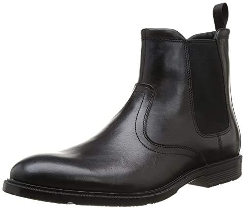Black Rockport Mens Leather Boots Boot City Smart Chelsea