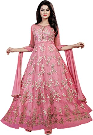 14f84fdafbb Aryan Fashion Womens Net Semi Stitched SALWAR SUIT (Fashion  Aryan  120 11090 Peach  Free Size)  Amazon.in  Clothing   Accessories