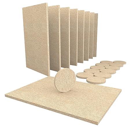 Möbel-Pads Premium-Set - 8 große 15x11cm strapazierfähige, selbstaftende Möbel-Filzplättchen & 12 große 38 mm große, runde Fi