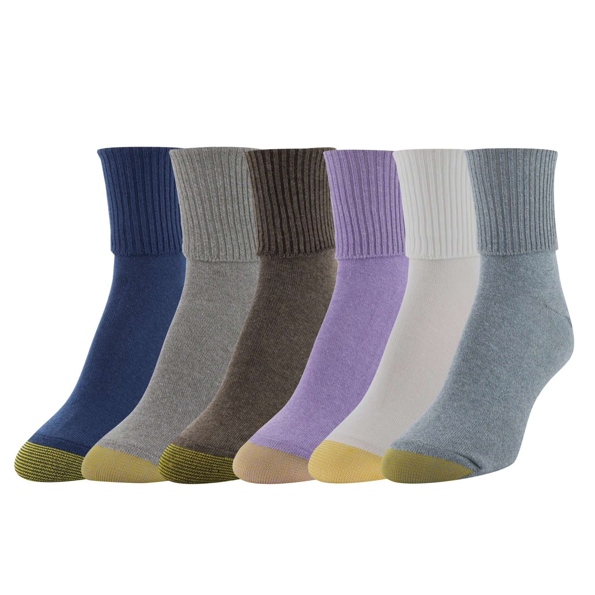Gold Toe Women's 6-Pack Turn Cuff Sock Grey Brown Mix Shoe Size 6-9/Sock Size 9-11