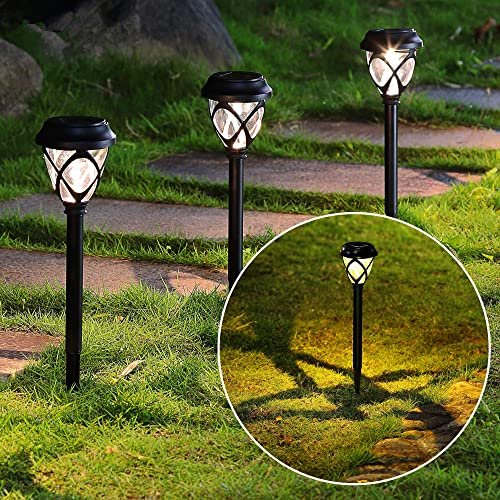 MAGGIFT 12 Pack Solar Powered Lights Outdoor Pathway Lights, Waterproof No Wires Solar Garden Lights for Lawn, Patio, Landscape, Yard, Walkway, Deck, Driveway, Warm White
