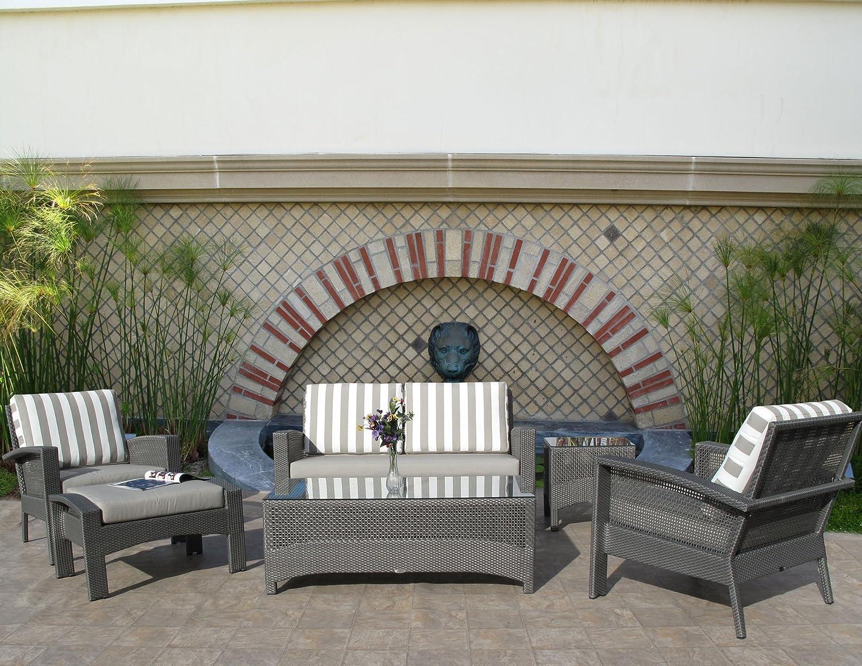 Amazon com premium outdoor wicker cedar lounge 6pc furniture set sunbrella fabric choices garden outdoor