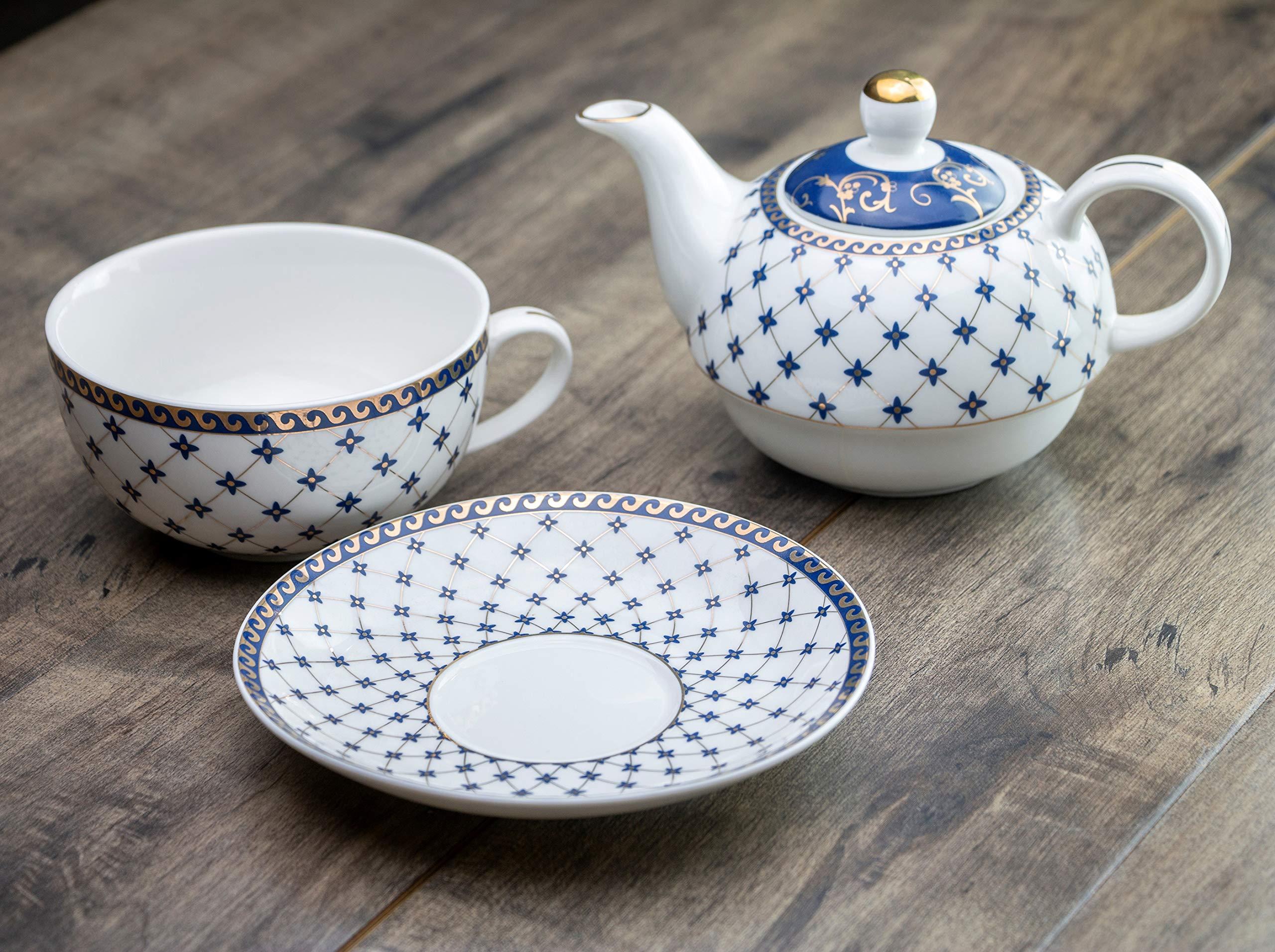 Grace Teaware Porcelain 4-Piece Tea For One (Trellis Blue Gold Trimmed)