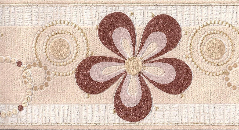 Flower Wallpaper Border Floral Glitter Textured Embossed Cream