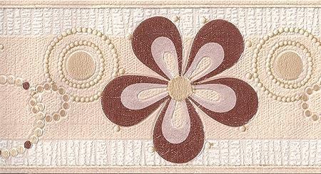 Flower Wallpaper Border Floral Glitter Textured Embossed Cream Beige Brown Gold