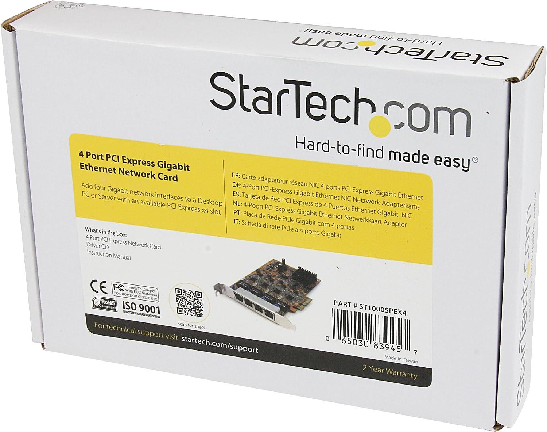 StarTech.com 4 Port PCI Express Gigabit Ethernet NIC Network Adapter Card (ST1000SPEX4)