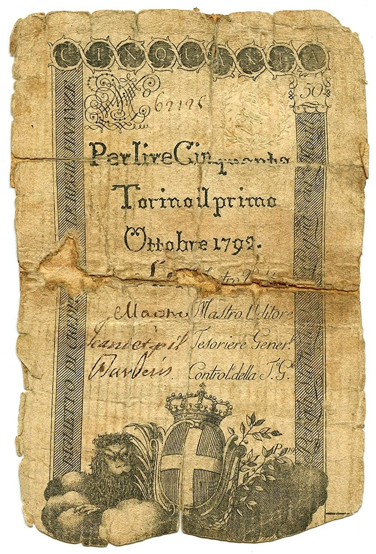 Cartamoneta  50 Lire Regno Sardegna REGIE FINANZE Torino 01 10 1792 MB