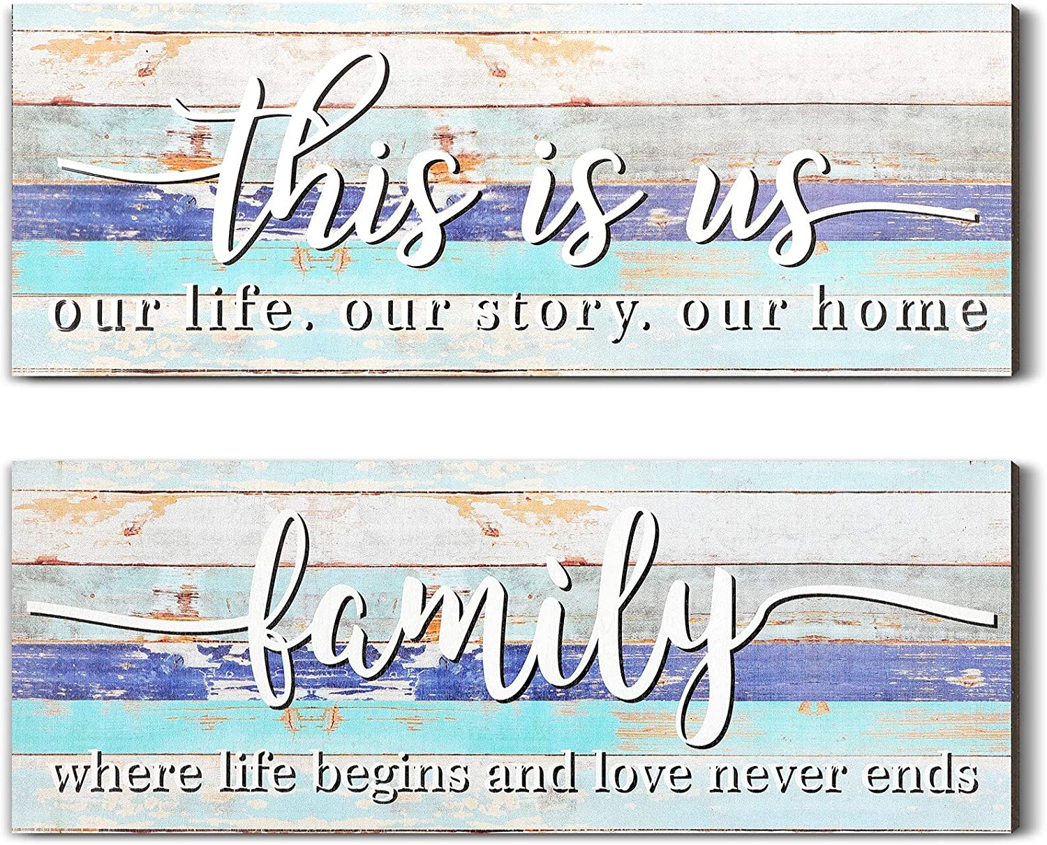 Jetec 2 Pieces This is Us Rustic Print Wood Sign Framed Family Rustic Wooden Wall Decor Farmhouse Entryway Signs for Bedroom Living Room Office Home Wall Outdoor Decor (Rustic Blue)