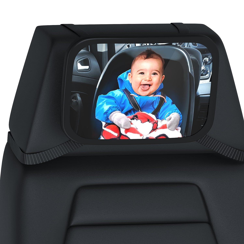 R/ücksitzspiegel f/ür Babys 23x16cm Sicherheitsspiegel Auto-R/ückspiegel f/ür die Babyschale Hoch- oder Querformat splittersicher CSL Verstellbare Tr/äger//universale Form