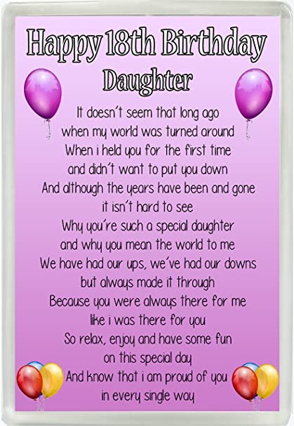 Happy 18th Birthday Daughter Poem Jumbo Fridge Magnet Ideal Keepsake Gift M12 Amazoncouk Kitchen Home