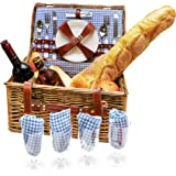 Wicker Picnic Basket Set 4 Person Picnic Basket Hamper Set with Flatware, Plates and Wine Glasses Includes Blue Checked Pattern Lining