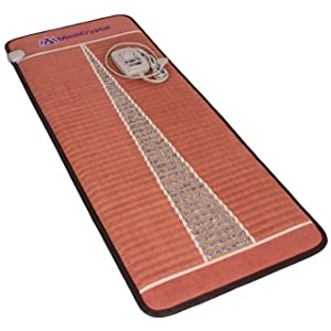 """Far Infrared Amethyst Mat Midsize (59""""L x 24""""W) - Negative Ion - FIR Therapy - Natural Amethyst - FDA Registered Manufacturer - Adjustable Temperature Setting - Hot Crystal Heating Pad - Reddish Brown"""