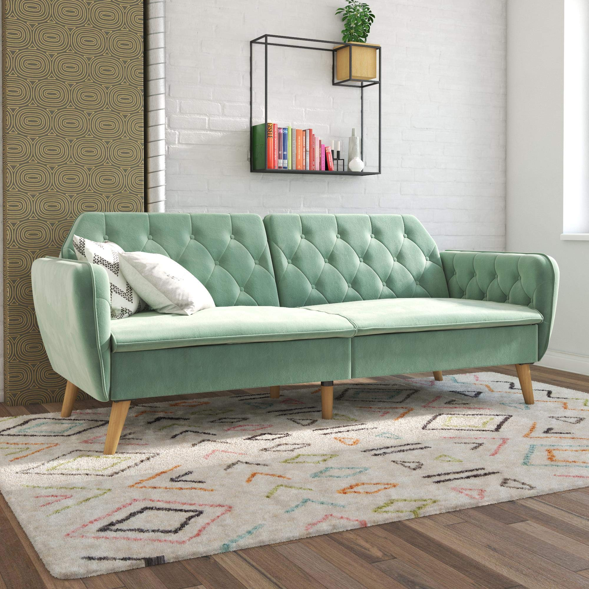 Novogratz 2144879N Tallulah Memory Foam Sofa Bed, Light Green Velvet Futon, by Novogratz