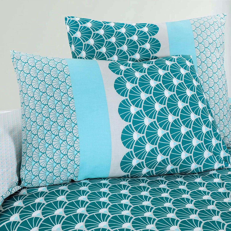 Bleu 1x63x63 Nimsay Home Azure Parure de lit 100/% Coton 100/% Coton 140x200