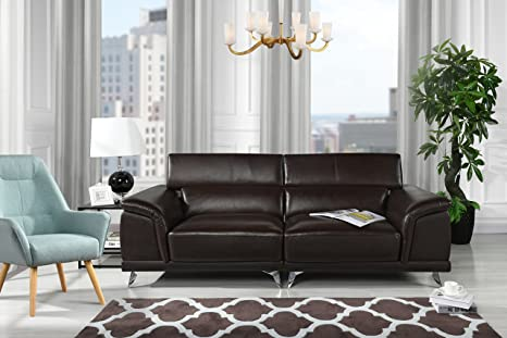 Divano Roma Furniture Modern Living Room Sofa with Adjustable Headrest (Brown)