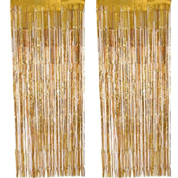 Outus 2 Pack Thickening Foil Curtain Metallic Fringe Curtains Door Window For Home Party