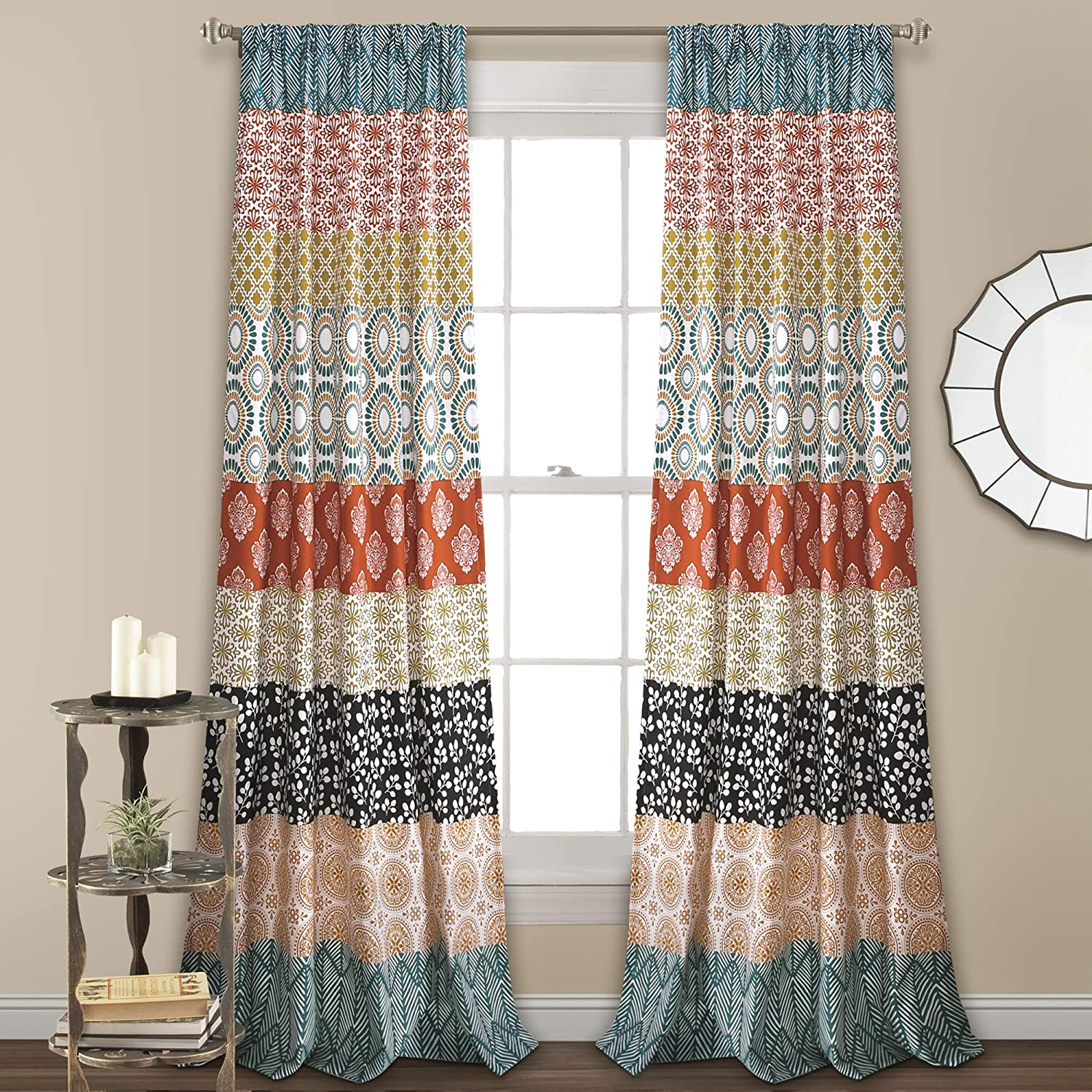 "Lush Decor Bohemian Stripe Window Curtain Colorful Bold Design Panel Pair, 84"" x 52"", Turquoise and Orange"