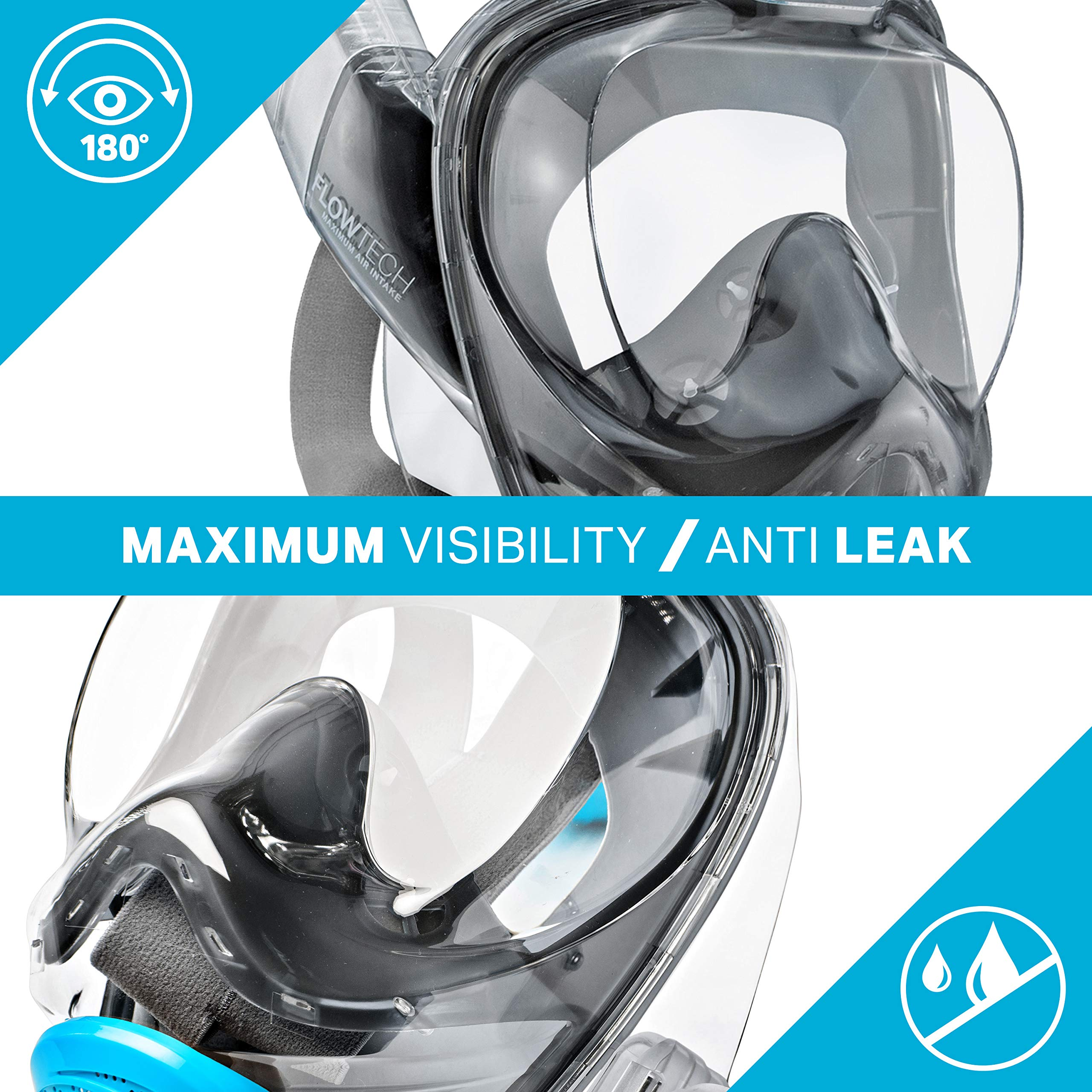 WildHorn Outfitters Seaview 180° V2 Full Face Snorkel Mask with FLOWTECH Advanced Breathing System - Allows for A Natural & Safe Snorkeling Experience- Panoramic Side Snorkel Set Design by WildHorn Outfitters (Image #8)