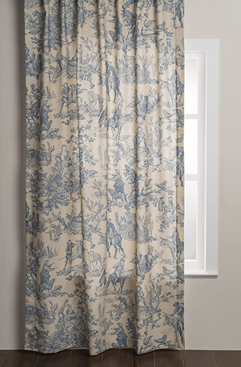 Amazon Com Maison D Hermine The Miller 100 Cotton Curtain One Panel For Living Rooms Bedrooms Offices Tailored With A Rod Pocket And Loop For Easy Hanging Blue 50 Inch By 96 Inch